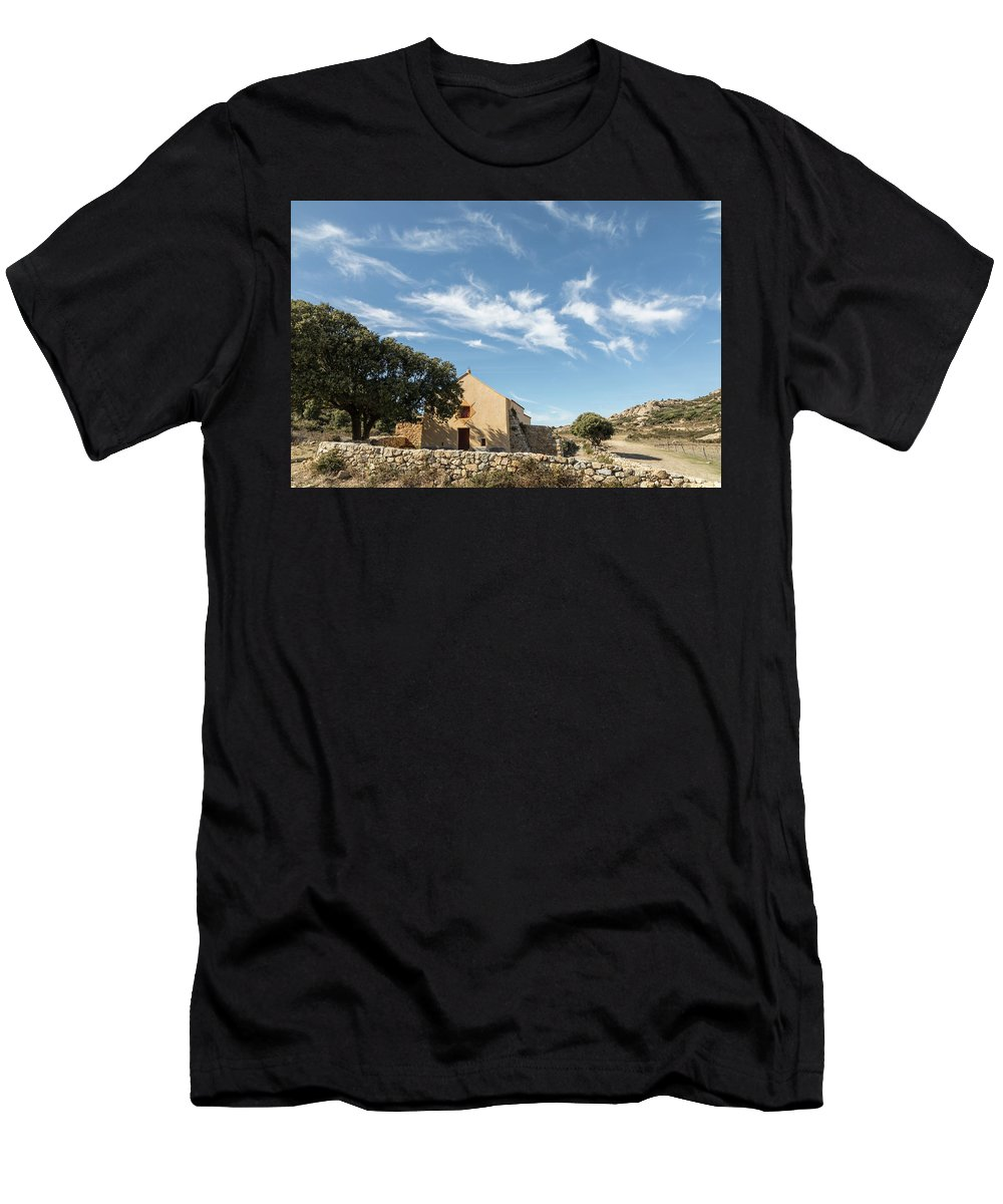 Balagne Men's T-Shirt (Athletic Fit) featuring the photograph Small Chapel In The Hills Of The Balagne Region Of Corsica by Jon Ingall