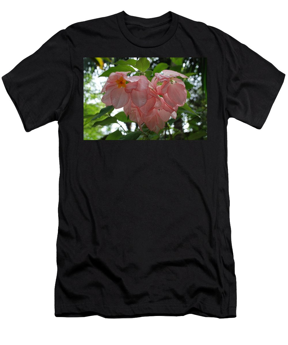 Orange Men's T-Shirt (Athletic Fit) featuring the photograph Small Orange Flower Pink Heart Leaves by Rob Hans