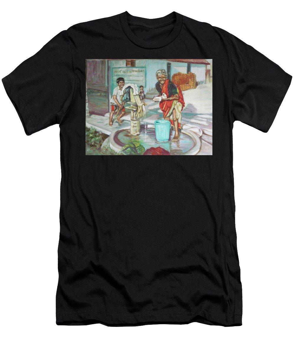 Usha Men's T-Shirt (Athletic Fit) featuring the painting Smile Plz by Usha Shantharam