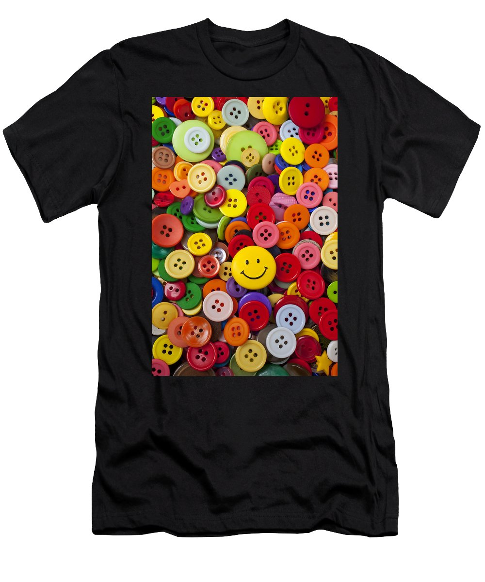 Smiley Face Men's T-Shirt (Athletic Fit) featuring the photograph Smiley Face Button by Garry Gay