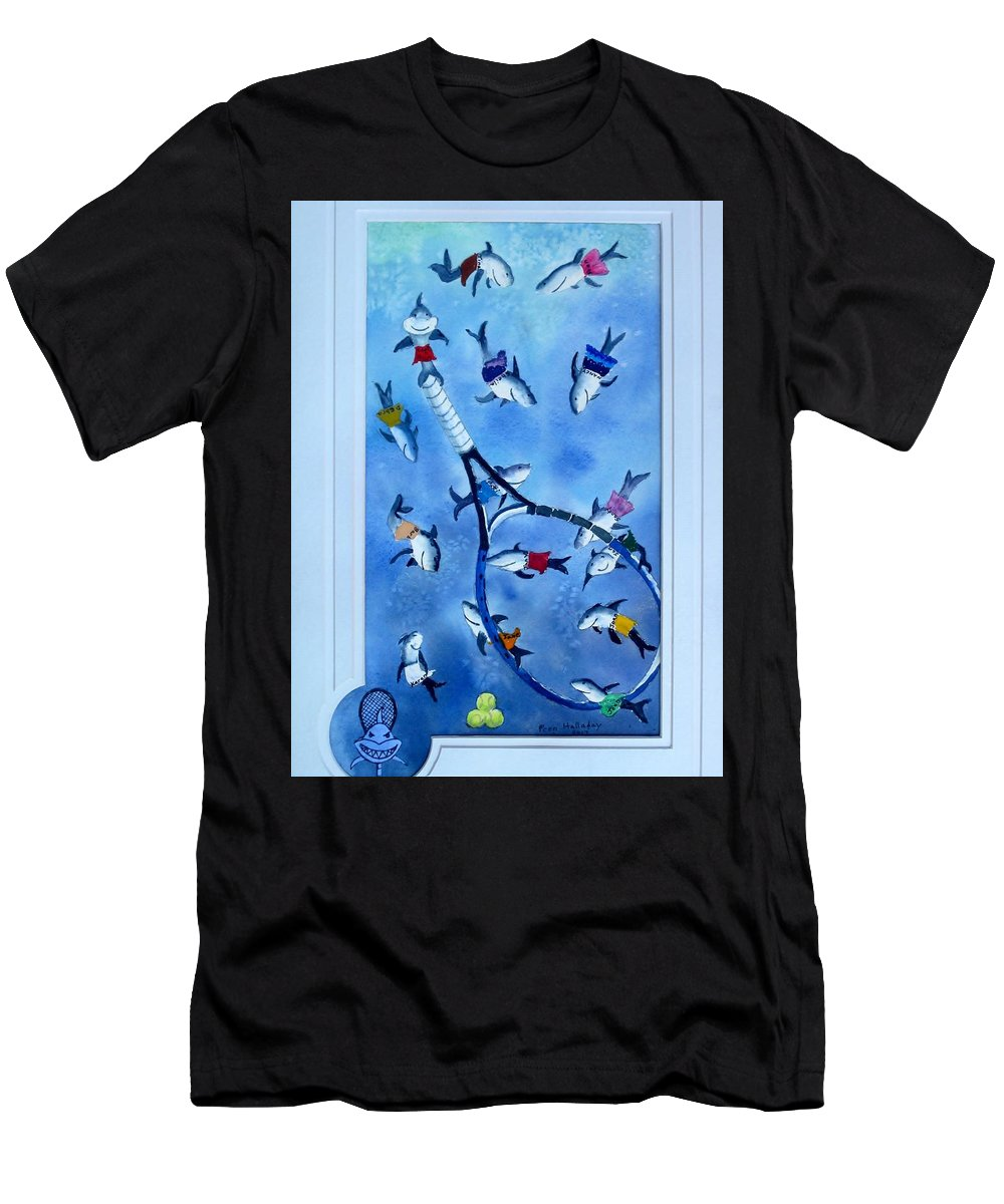 Smiling Sharks Men's T-Shirt (Athletic Fit) featuring the painting Smiling Tennis Sharks by Prentiss Halladay