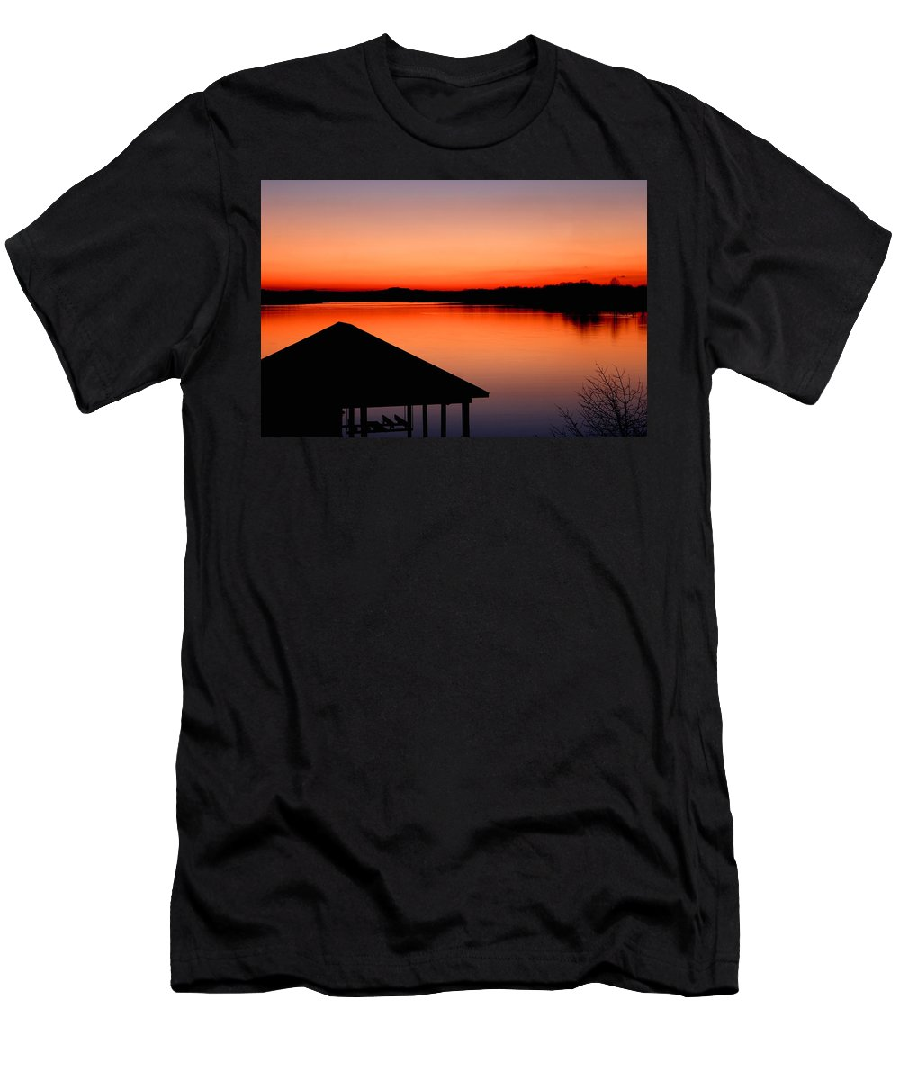 Sunset T-Shirt featuring the photograph Smith Mountain Sunset by Jean Macaluso