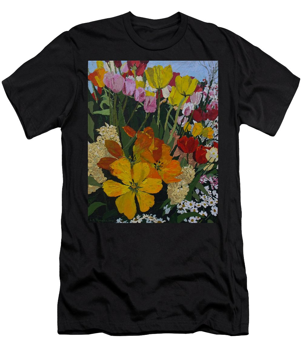 Floral Men's T-Shirt (Athletic Fit) featuring the painting Smith's Bulb Show by Leah Tomaino