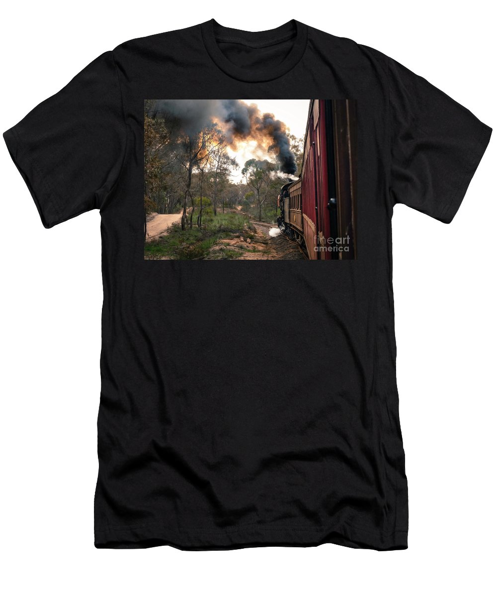 Belching Fire Men's T-Shirt (Athletic Fit) featuring the photograph Smoke And Fire by Teresa A and Preston S Cole Photography