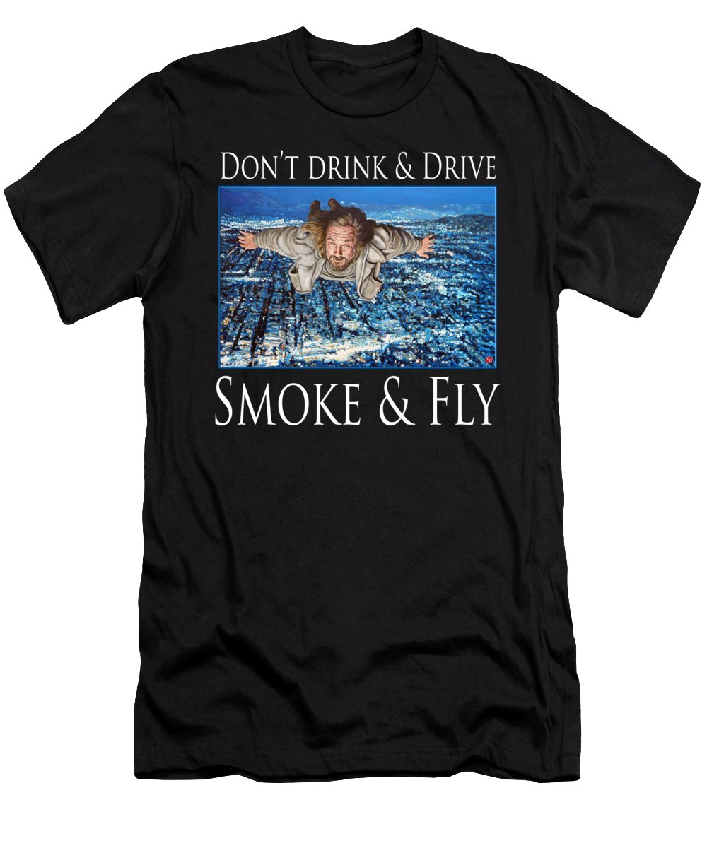 The Dude T-Shirt featuring the painting Smoke and Fly by Tom Roderick