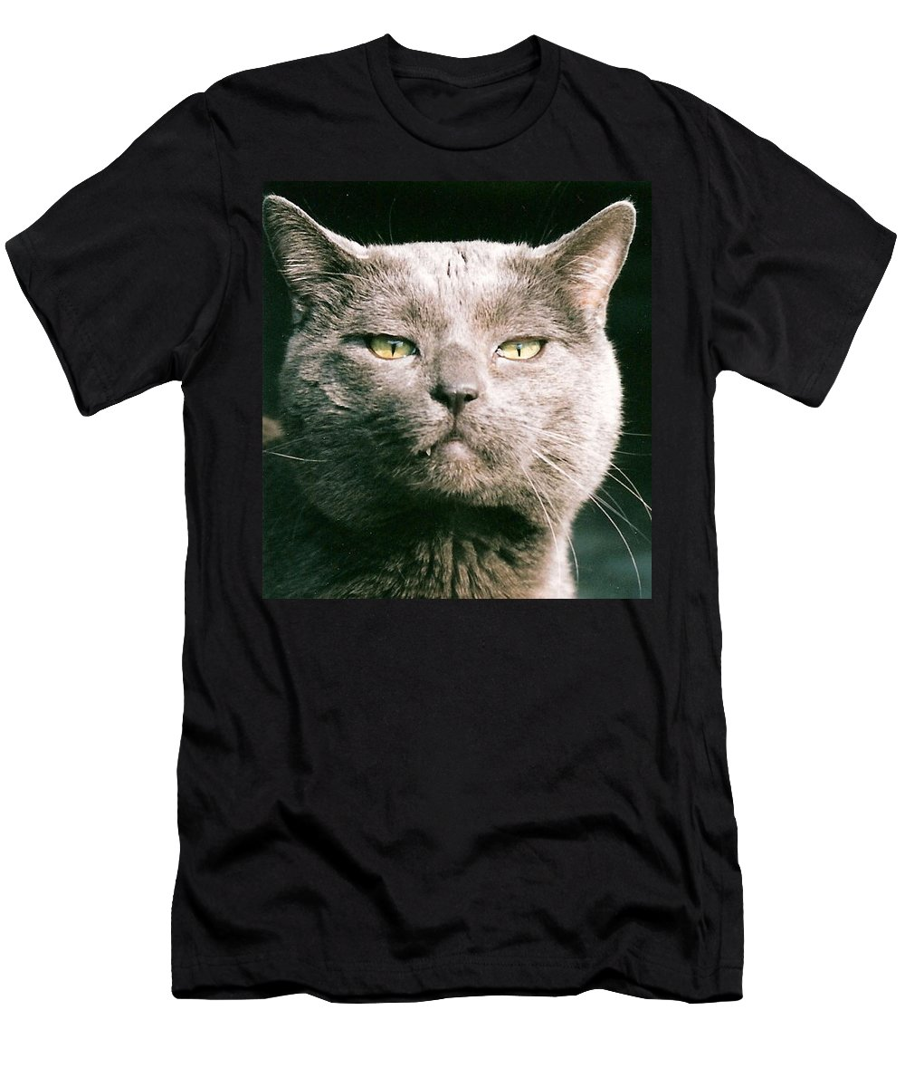 Cat Men's T-Shirt (Athletic Fit) featuring the greeting card Smokey by Lauri Novak