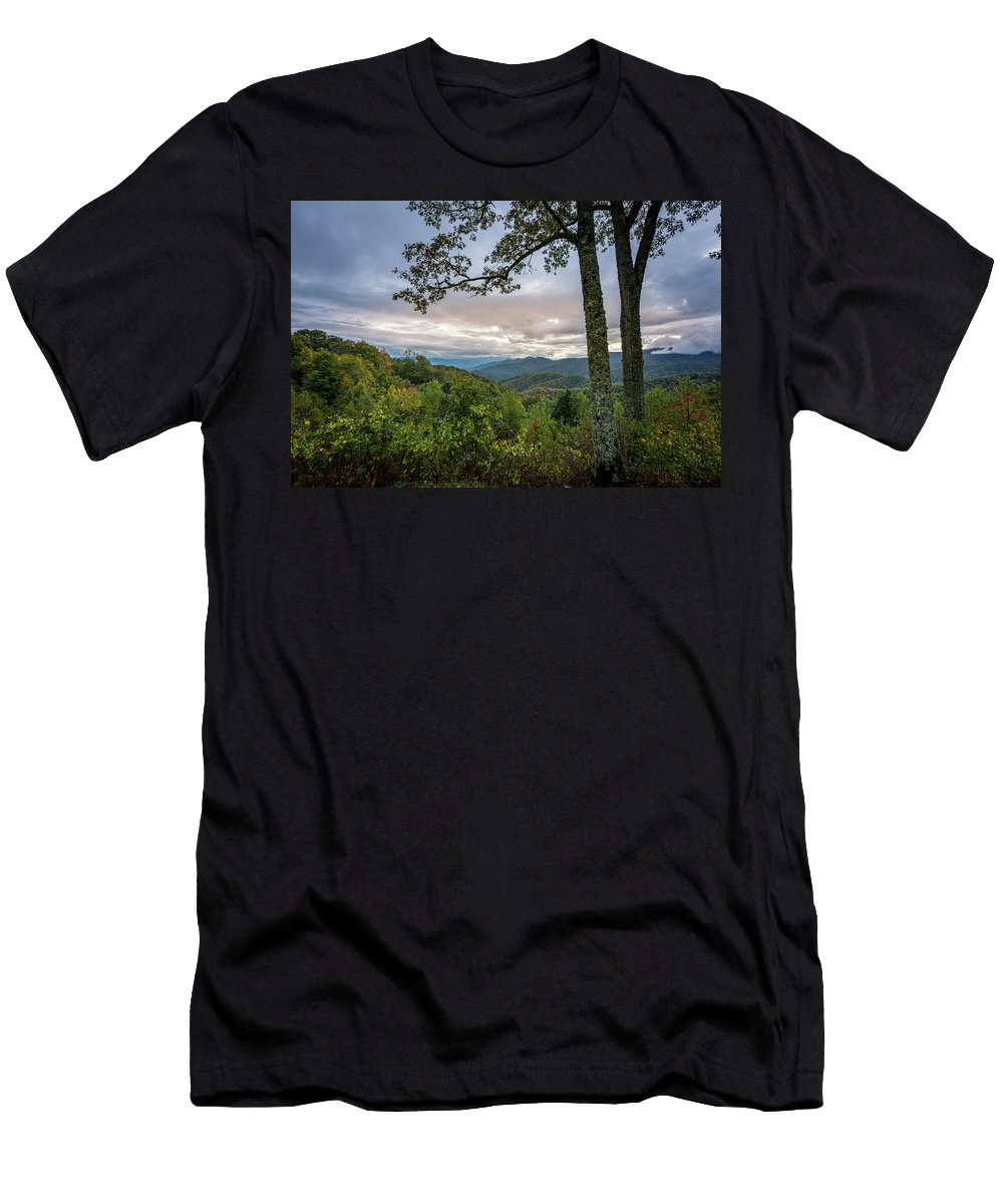 Mountain Men's T-Shirt (Athletic Fit) featuring the photograph Smokey Mountain Sunset by David Morefield