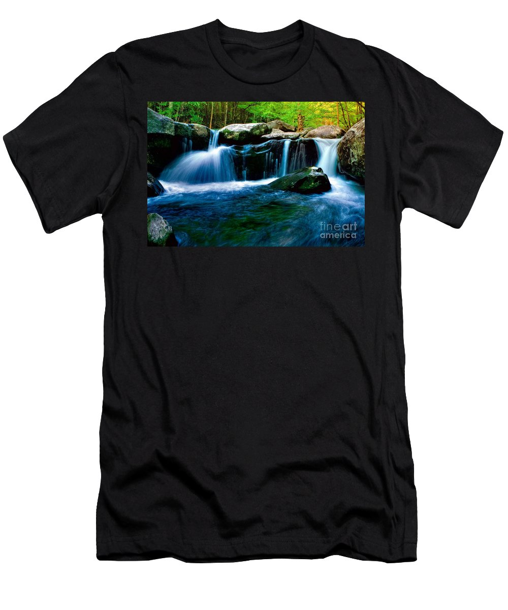 Smoky Mountains Men's T-Shirt (Athletic Fit) featuring the photograph Smokey Mountains Mountain Stream 4 by Randy Matthews