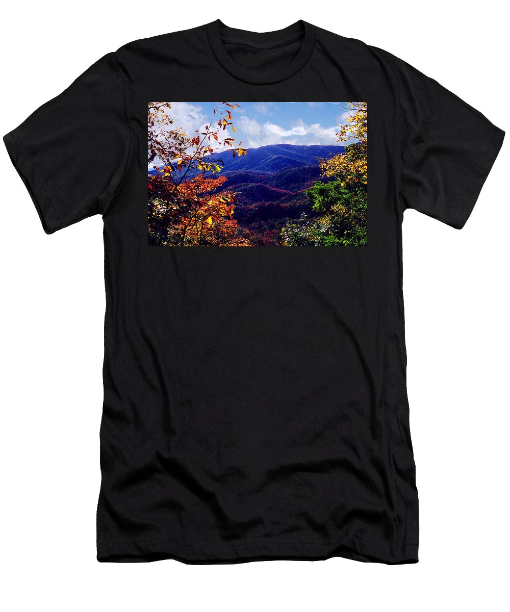 Mountain Men's T-Shirt (Athletic Fit) featuring the photograph Smoky Mountain Autumn View by Nancy Mueller