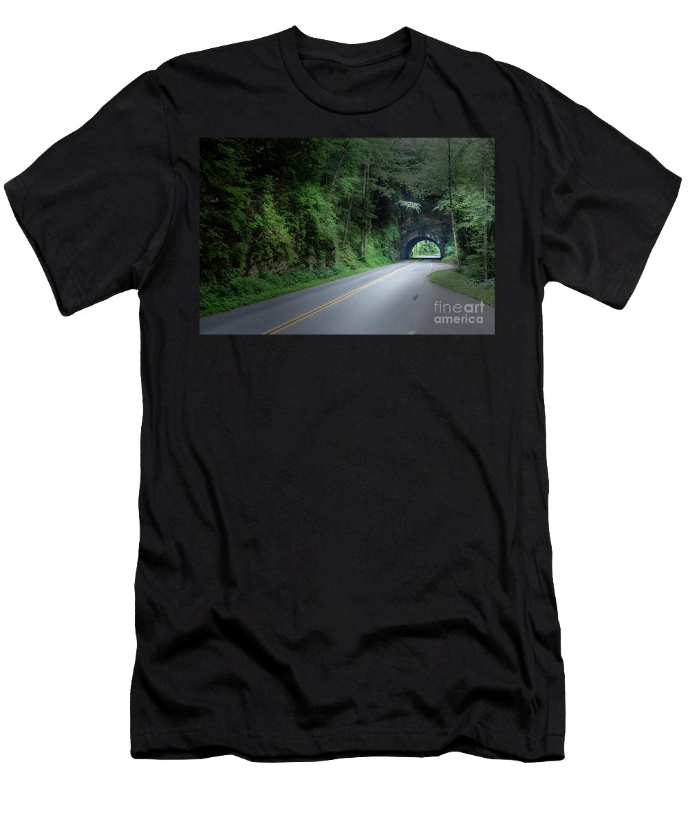 2016 Men's T-Shirt (Athletic Fit) featuring the photograph Smoky Mountain Tunnel by Larry Braun