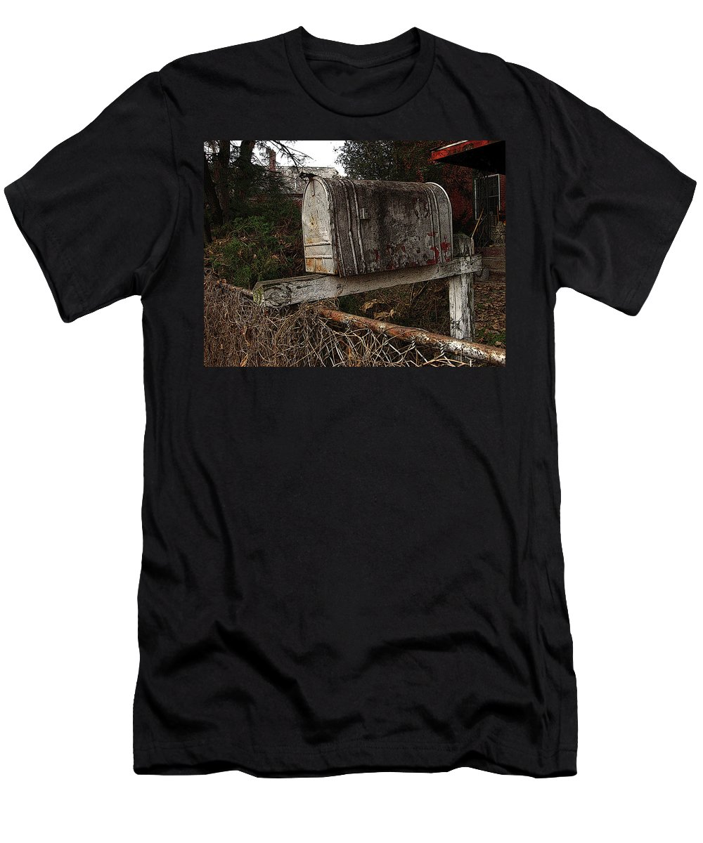 Mail Box Men's T-Shirt (Athletic Fit) featuring the photograph Snail Mail Receptacle by Jay Ressler