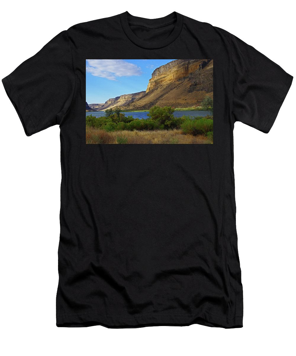 Snake River Men's T-Shirt (Athletic Fit) featuring the photograph Snake River Canyon by Mike and Sharon Mathews