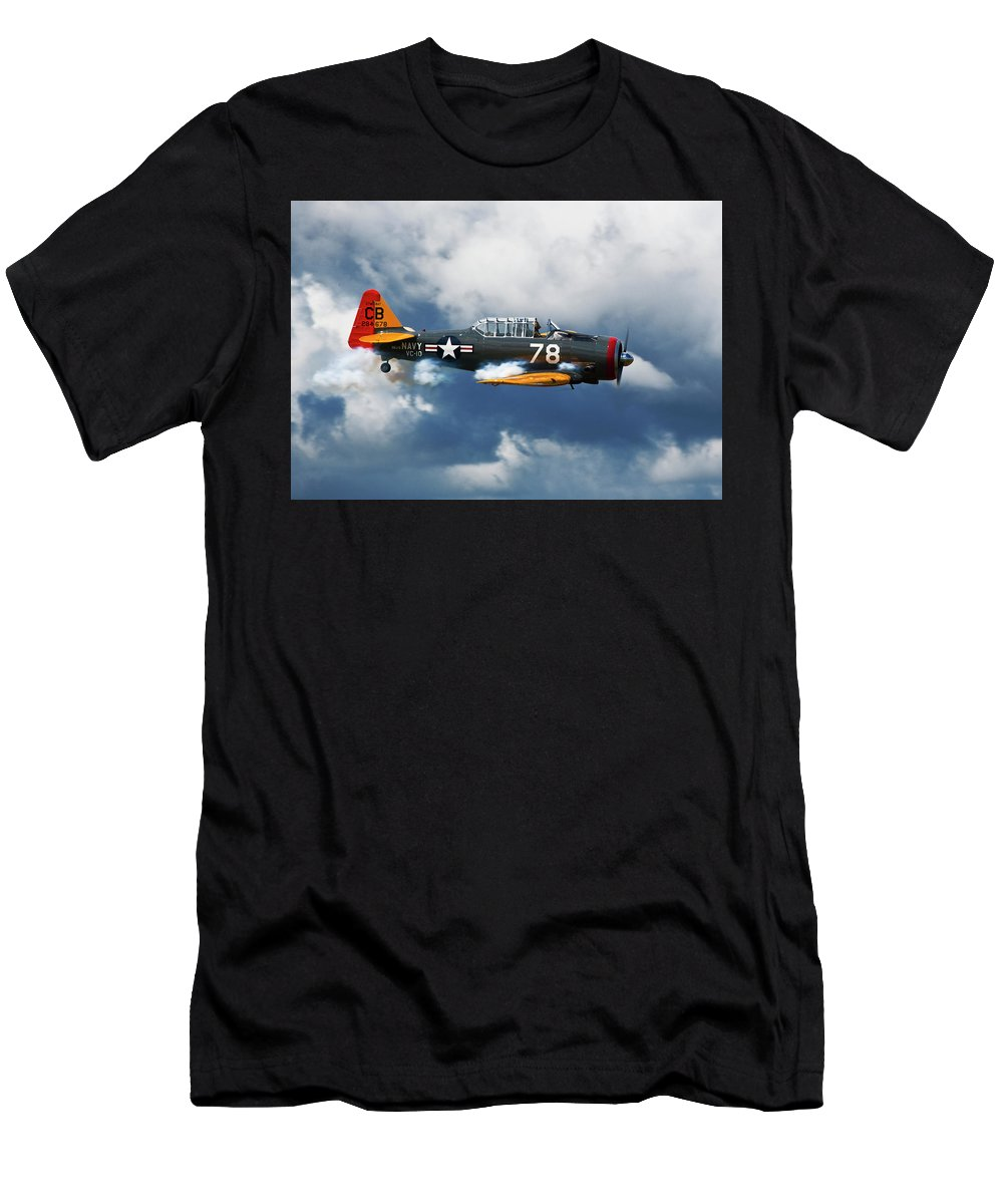 Snj-5 Men's T-Shirt (Athletic Fit) featuring the photograph Snj-5 Texan T-6 Smoke On by Bruce Beck