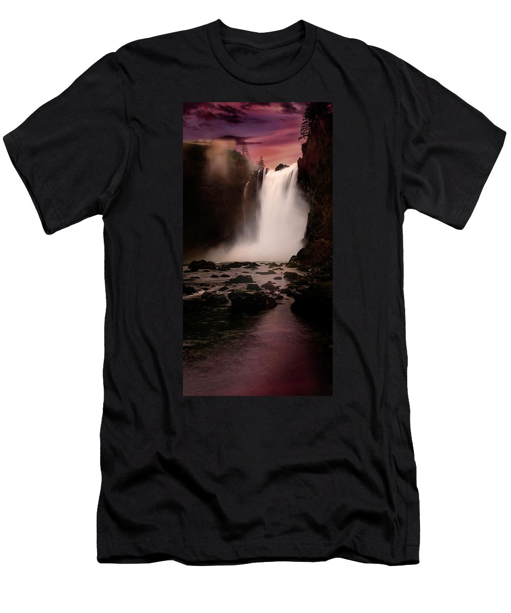 Waterfall Men's T-Shirt (Athletic Fit) featuring the photograph Snoqualmie Falls by Herman Robert