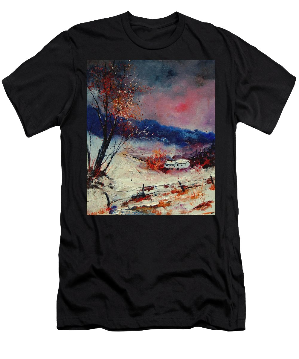 Winter Men's T-Shirt (Athletic Fit) featuring the painting Snow 569020 by Pol Ledent