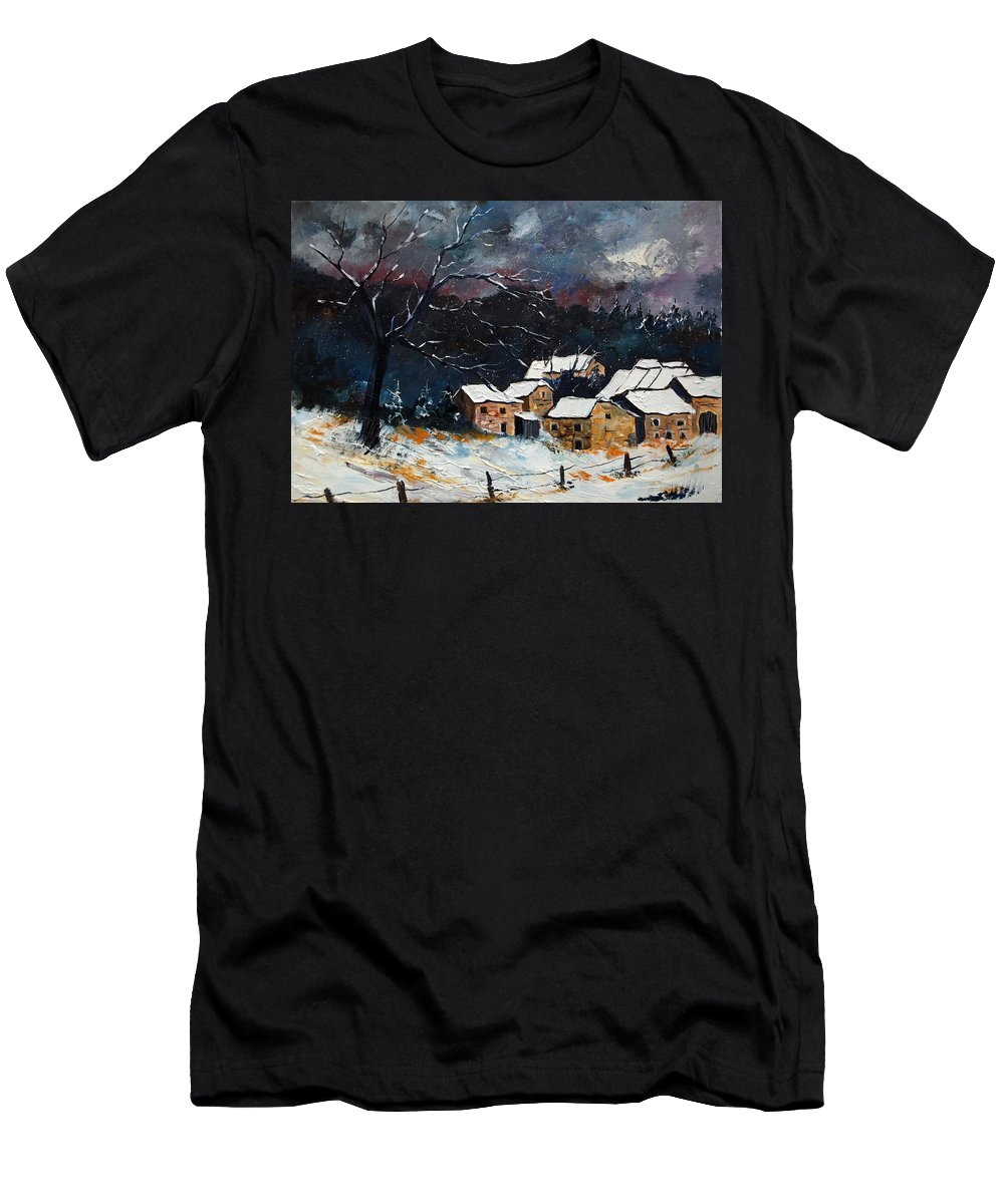 Snow Men's T-Shirt (Athletic Fit) featuring the painting Snow 57 by Pol Ledent