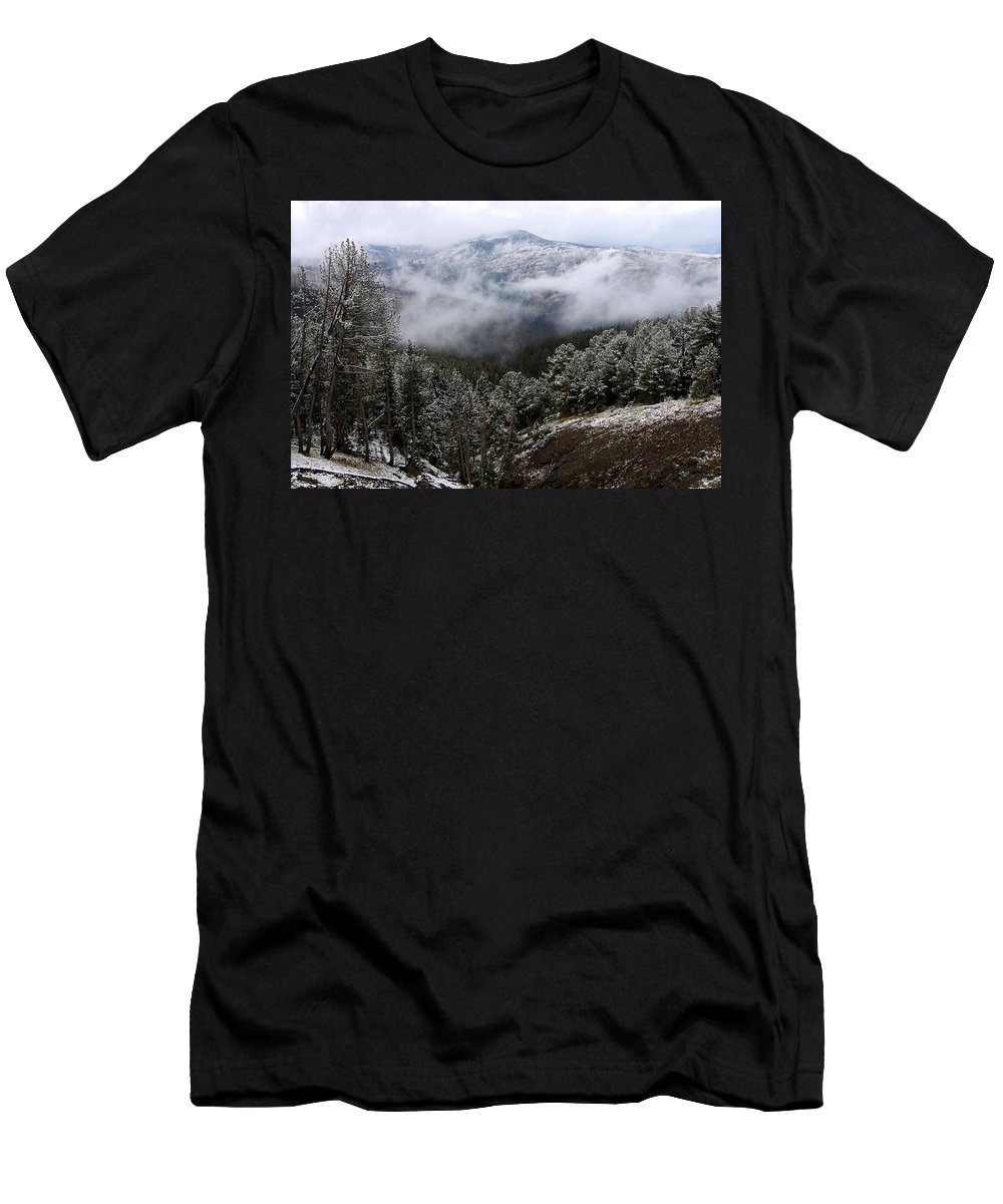 Yellowstone National Park Men's T-Shirt (Athletic Fit) featuring the photograph Snow And Clouds In The Mountains by Larry Ricker