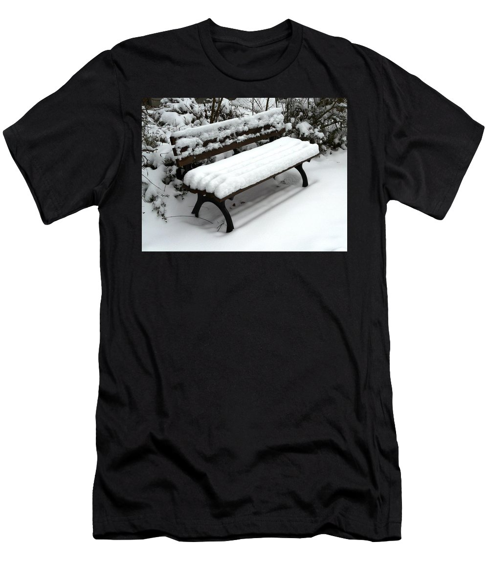 Snow Men's T-Shirt (Athletic Fit) featuring the photograph Snow Bench by Valerie Ornstein