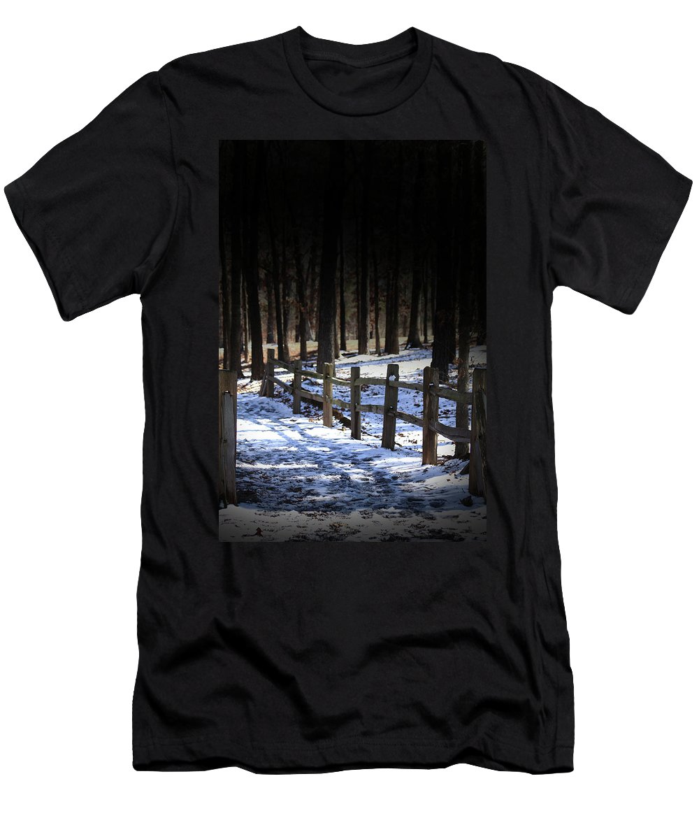 Snow Men's T-Shirt (Athletic Fit) featuring the digital art Snow Covered Bridge by Kim Henderson