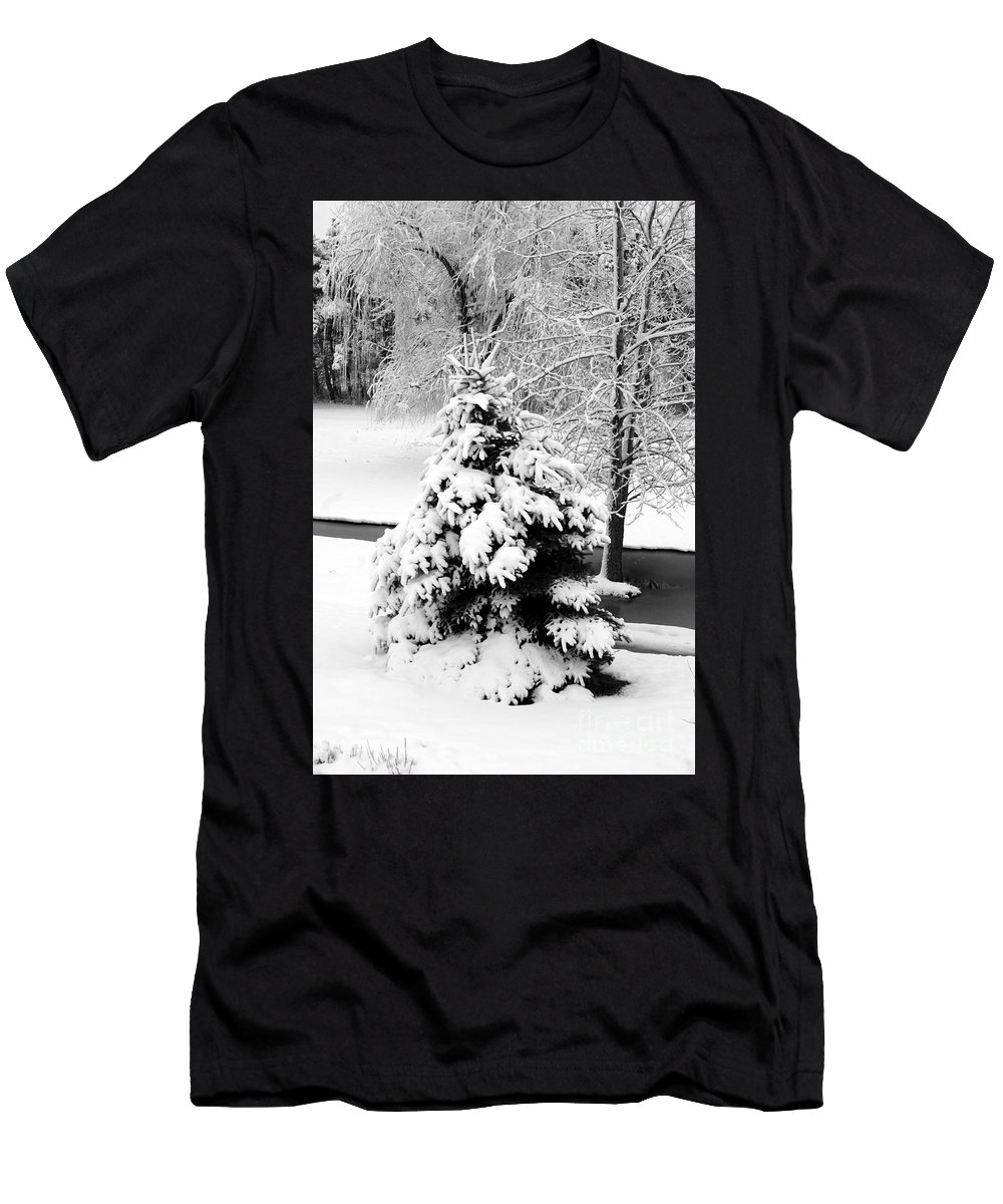 Snow Men's T-Shirt (Athletic Fit) featuring the photograph Snow Covered Trees by Kathleen Struckle