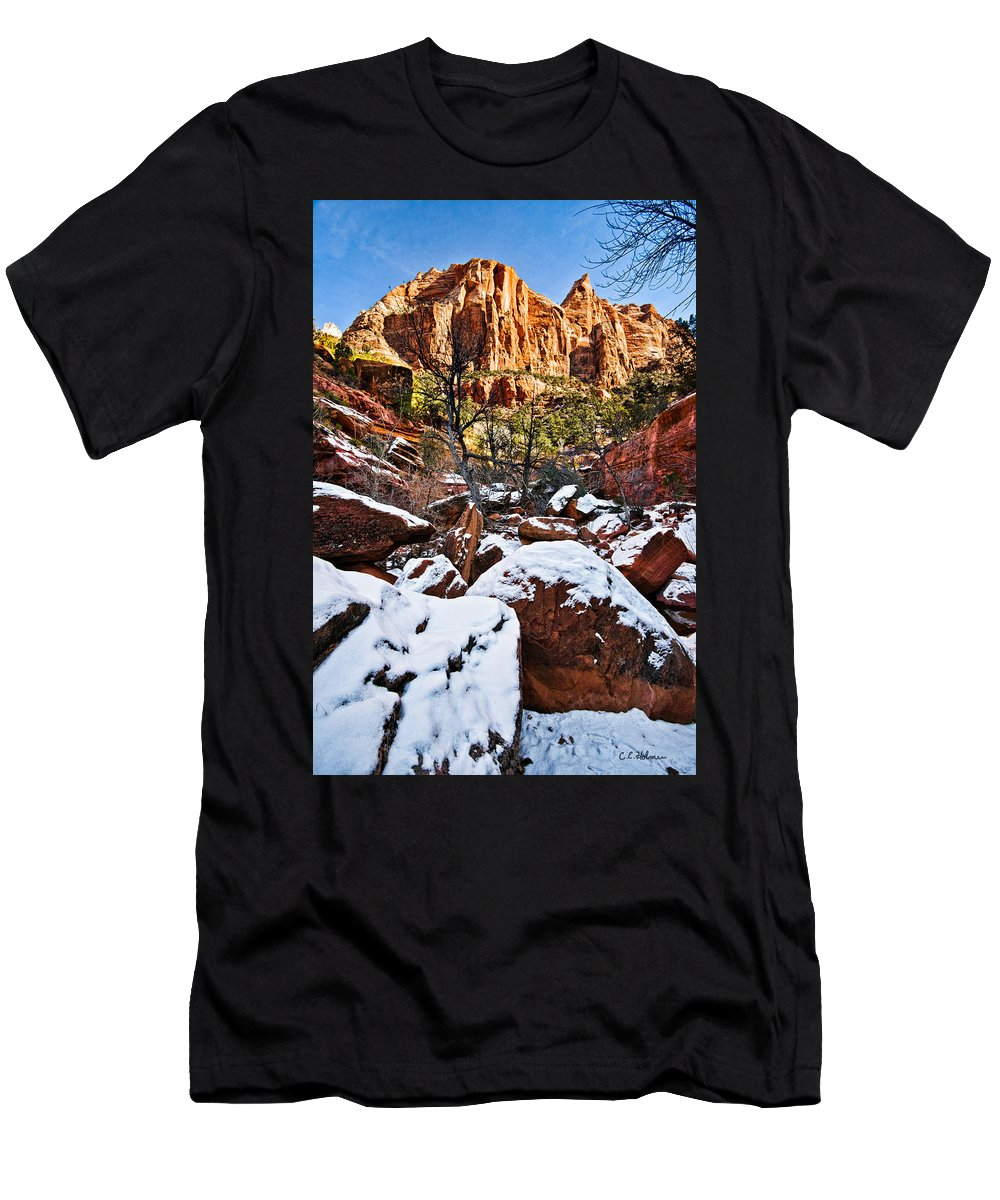 Mountain Men's T-Shirt (Athletic Fit) featuring the photograph Snow In The Canyons by Christopher Holmes