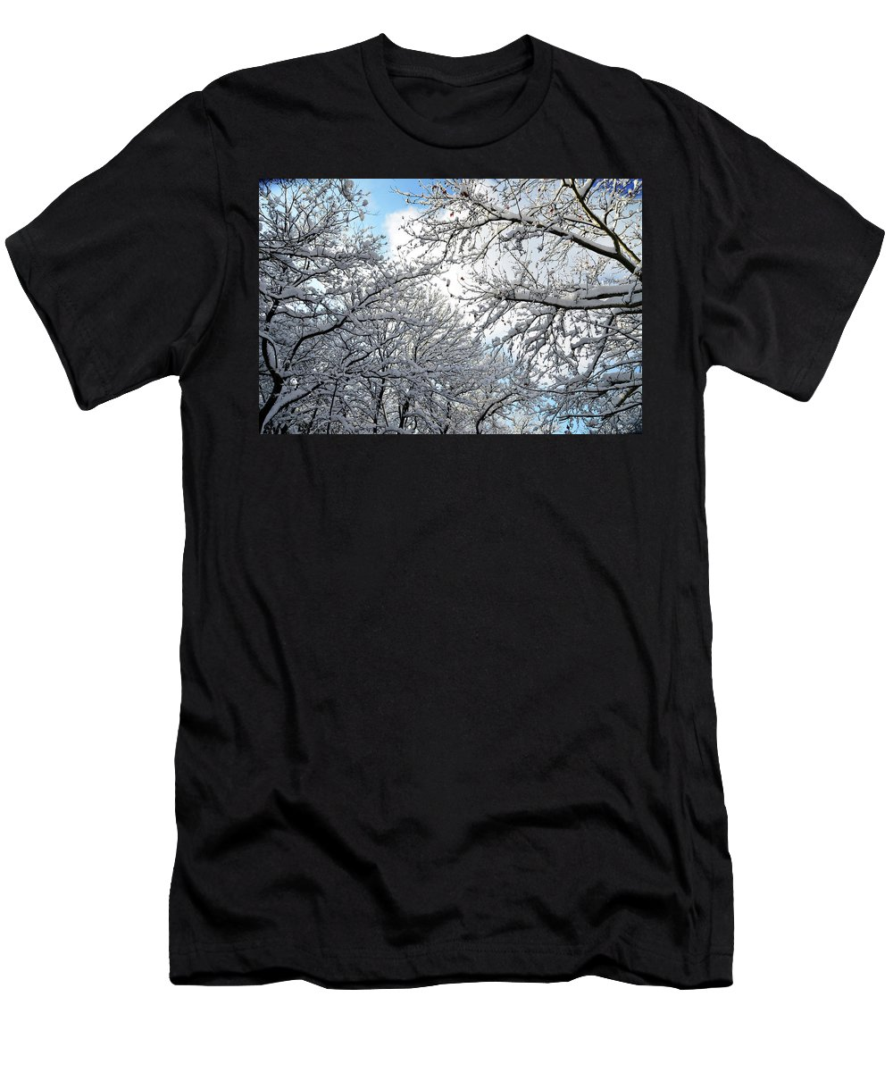 Snow Men's T-Shirt (Athletic Fit) featuring the photograph Snow On Trees by Tamar Mirianashvili