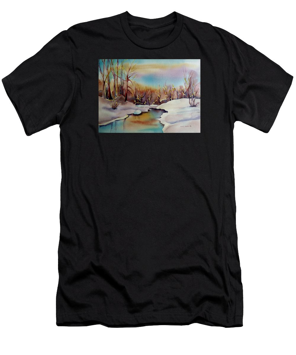 Winterscene Men's T-Shirt (Athletic Fit) featuring the painting Snowfall by Carole Spandau