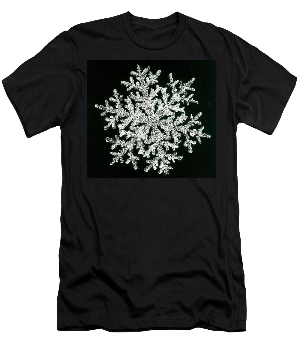 Snowflake Men's T-Shirt (Athletic Fit) featuring the photograph snowflake I by Dragica Micki Fortuna