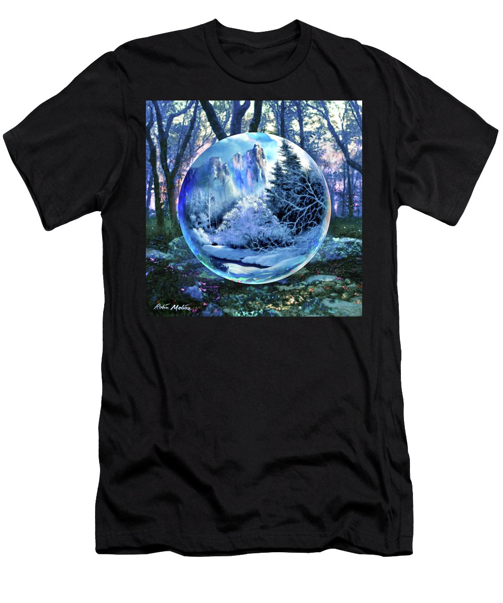 Snowglobe Men's T-Shirt (Athletic Fit) featuring the digital art Snowglobular by Robin Moline
