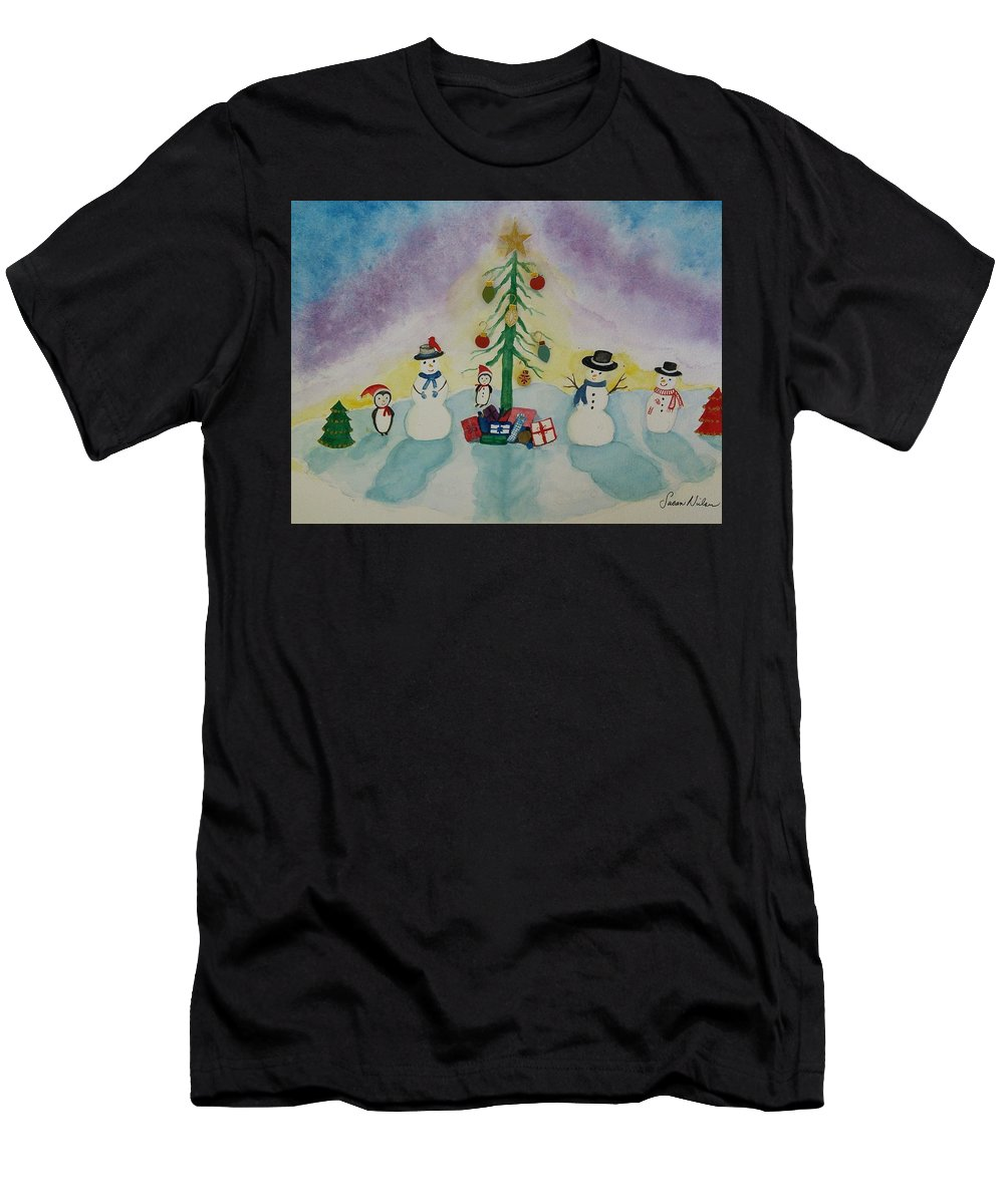 Christmas Men's T-Shirt (Athletic Fit) featuring the painting Snowmen On Ice by Susan Nielsen