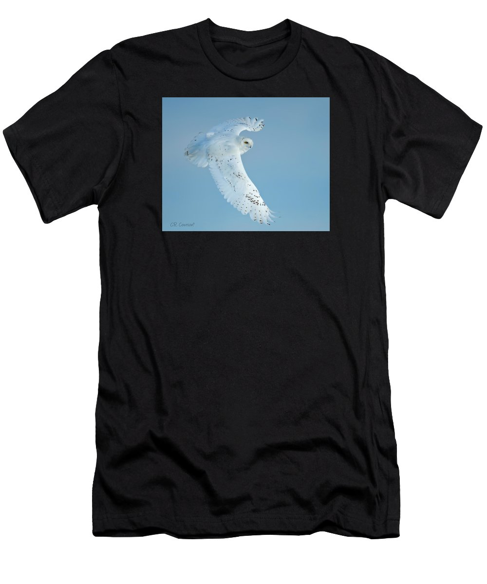 Owls Men's T-Shirt (Athletic Fit) featuring the photograph Snowy Against Blue Sky by CR Courson
