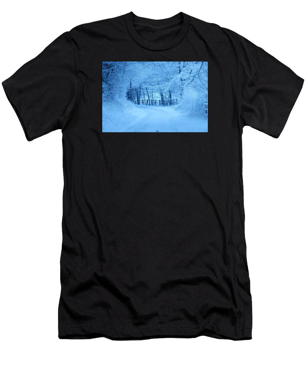 Snowy Lane Men's T-Shirt (Athletic Fit) featuring the photograph Snowy Country Lane by David Wilson