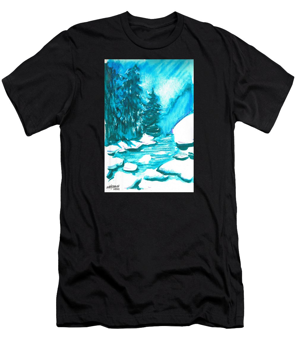 Chilling Men's T-Shirt (Athletic Fit) featuring the mixed media Snowy Creek Banks by Seth Weaver