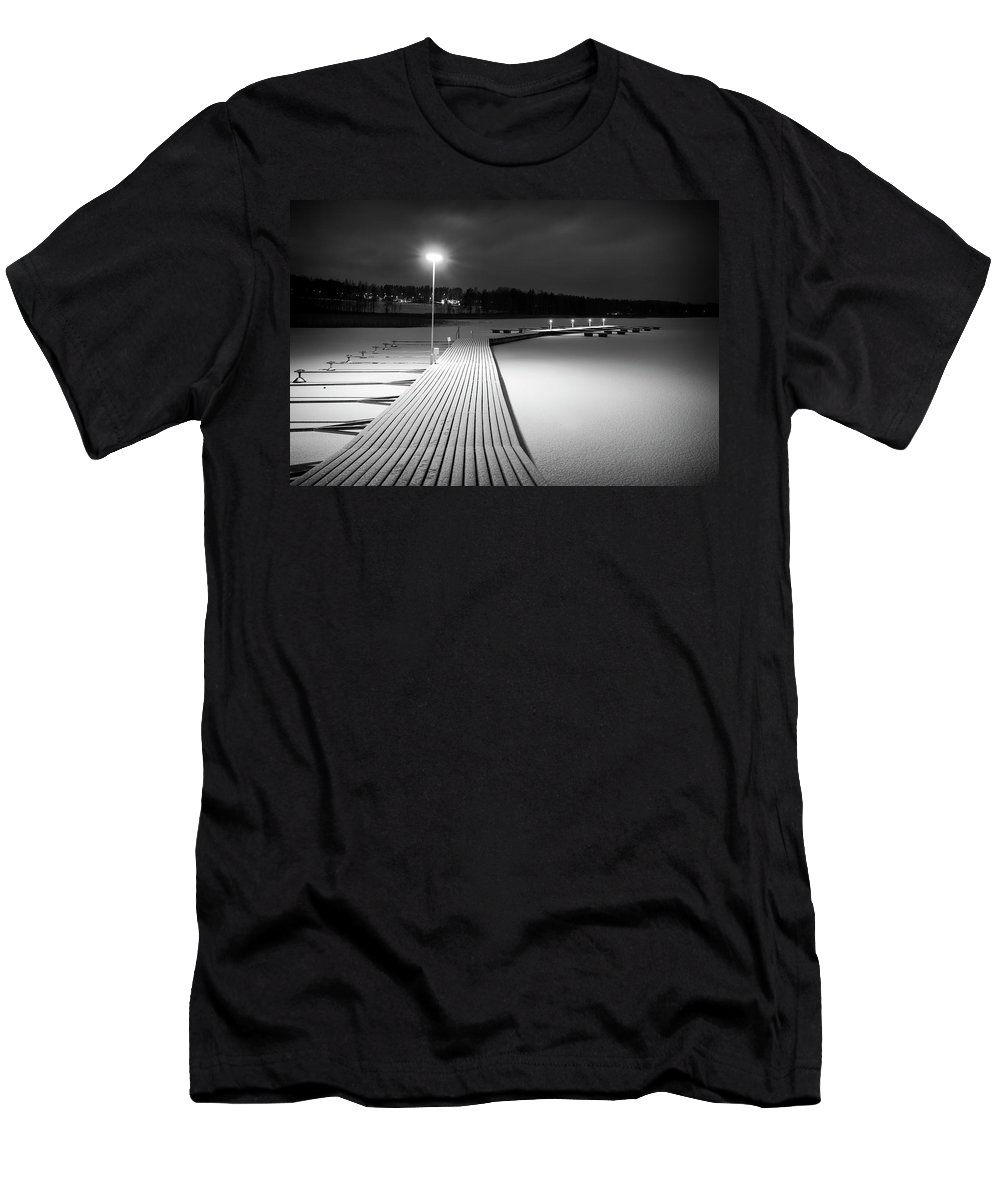 Dock Men's T-Shirt (Athletic Fit) featuring the photograph Snowy Dock by Toni Rantanen