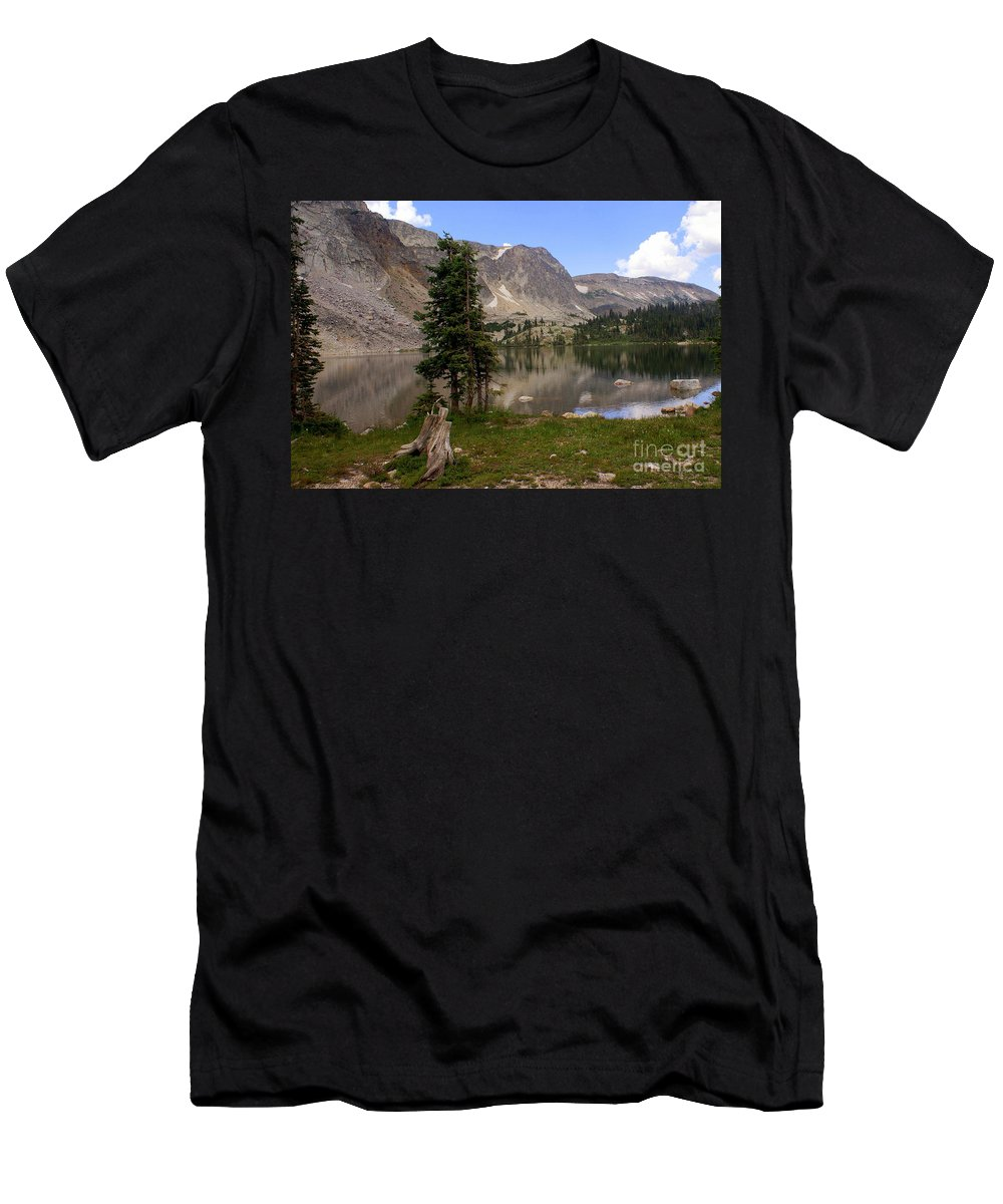 Snowy Mountains Men's T-Shirt (Athletic Fit) featuring the photograph Snowy Mountain Loop 1 by Marty Koch