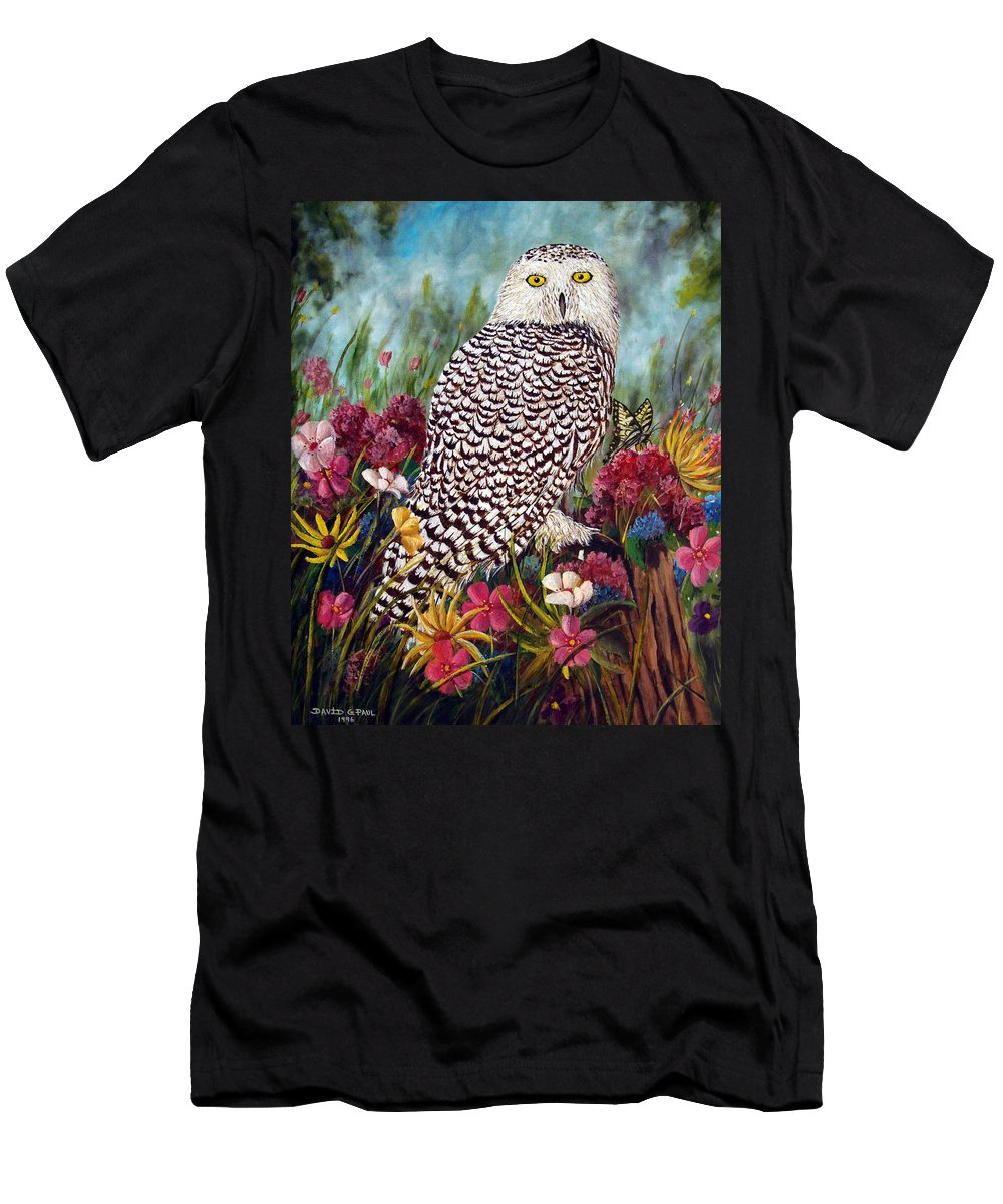 Owl Men's T-Shirt (Athletic Fit) featuring the painting Snowy Owl by David G Paul