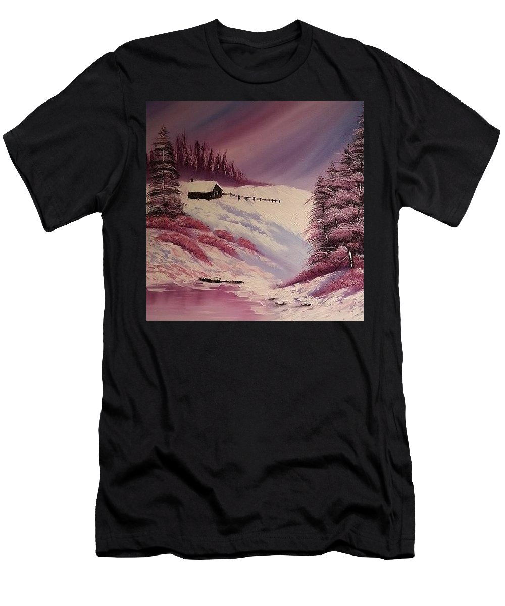 Landscape Men's T-Shirt (Athletic Fit) featuring the painting Snowy Summer by Nadine Westerveld