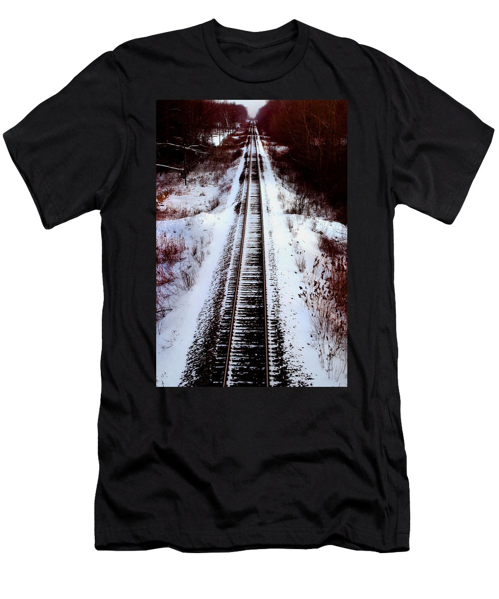 Train Tracks Men's T-Shirt (Athletic Fit) featuring the photograph Snowy Train Tracks by Anthony Jones