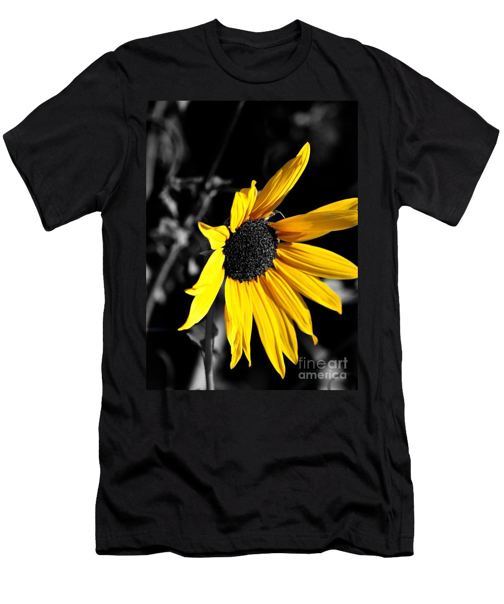 Clay Men's T-Shirt (Athletic Fit) featuring the photograph Soaking Up The Yellow Sunshine by Clayton Bruster