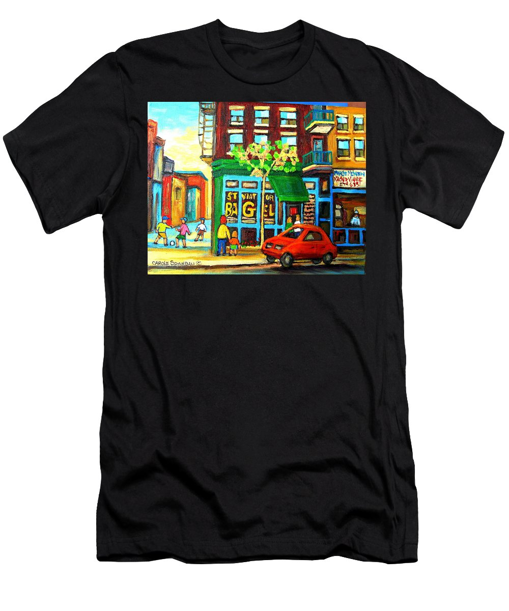 St Viateur Bagel Shop Montreal Street Scenes Men's T-Shirt (Athletic Fit) featuring the painting Soccer Game At The Bagel Shop by Carole Spandau