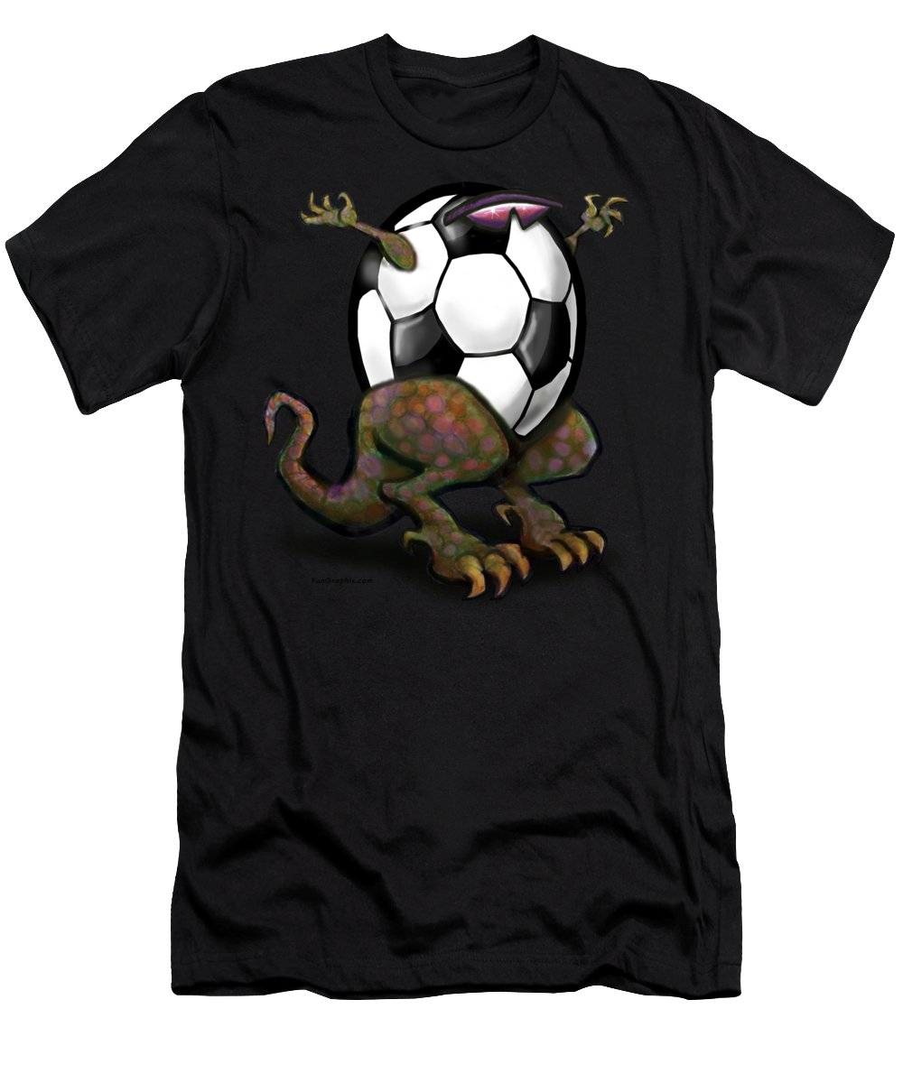 Soccer Men's T-Shirt (Athletic Fit) featuring the digital art Soccer Saurus Rex by Kevin Middleton
