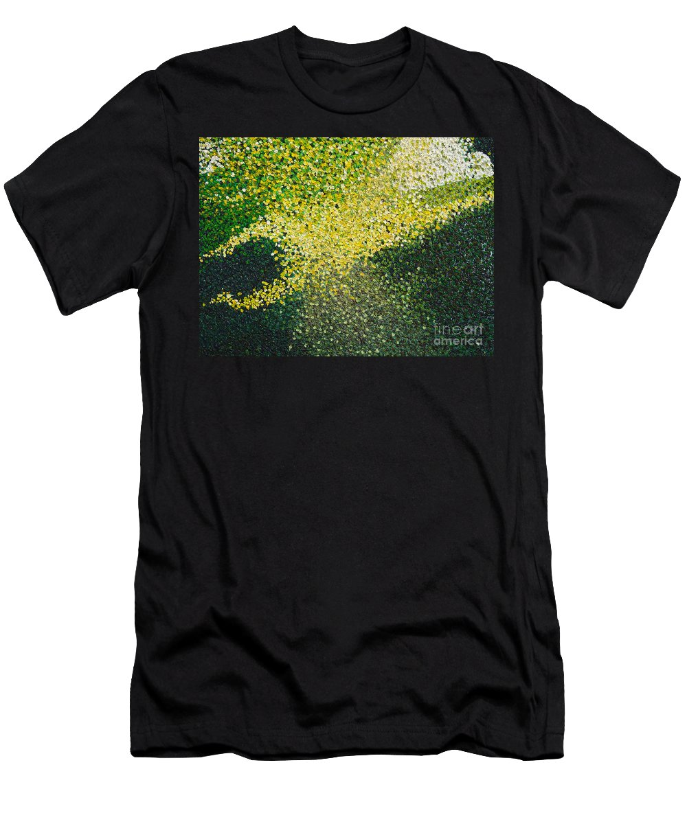Abstract Men's T-Shirt (Athletic Fit) featuring the painting Soft Green Light by Dean Triolo