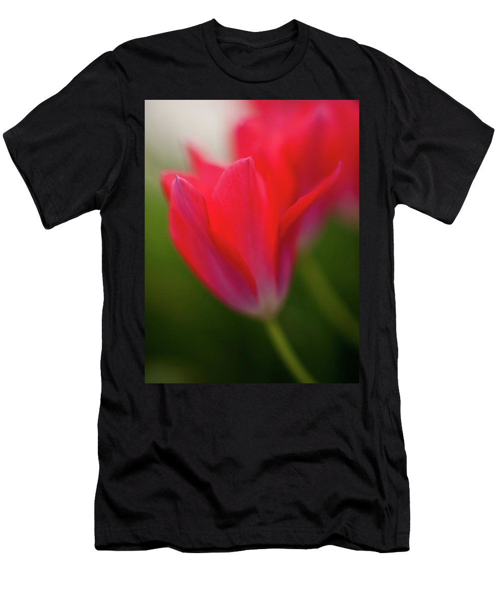 Red Men's T-Shirt (Athletic Fit) featuring the photograph Soft Tulips by Mike Reid