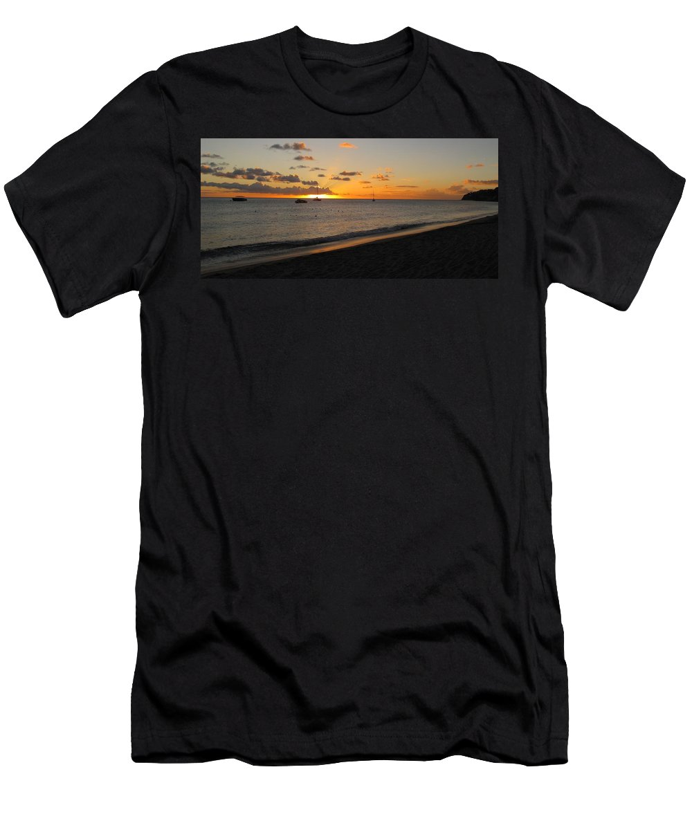 Sunset Men's T-Shirt (Athletic Fit) featuring the photograph Soft Warm Quiet Sunset by Ian MacDonald