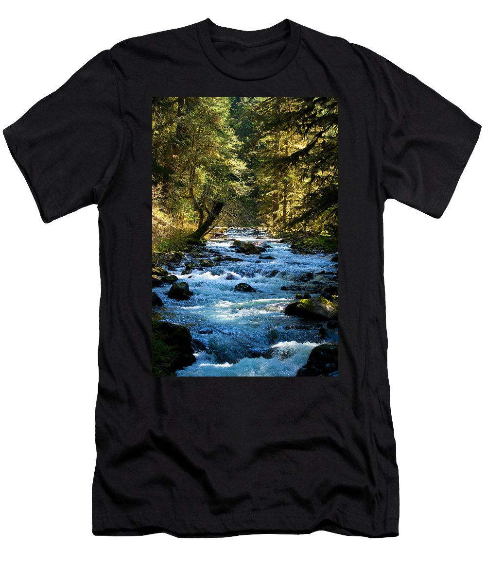Sol Duc River Men's T-Shirt (Athletic Fit) featuring the photograph Sol Duc River Above The Falls - Washington by Marie Jamieson