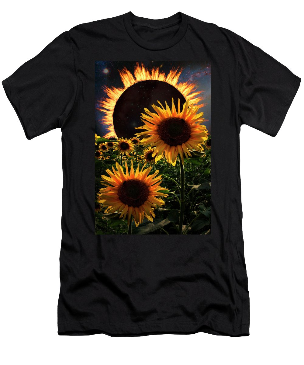 American Men's T-Shirt (Athletic Fit) featuring the photograph Solar Corona Over The Sunflowers by Debra and Dave Vanderlaan