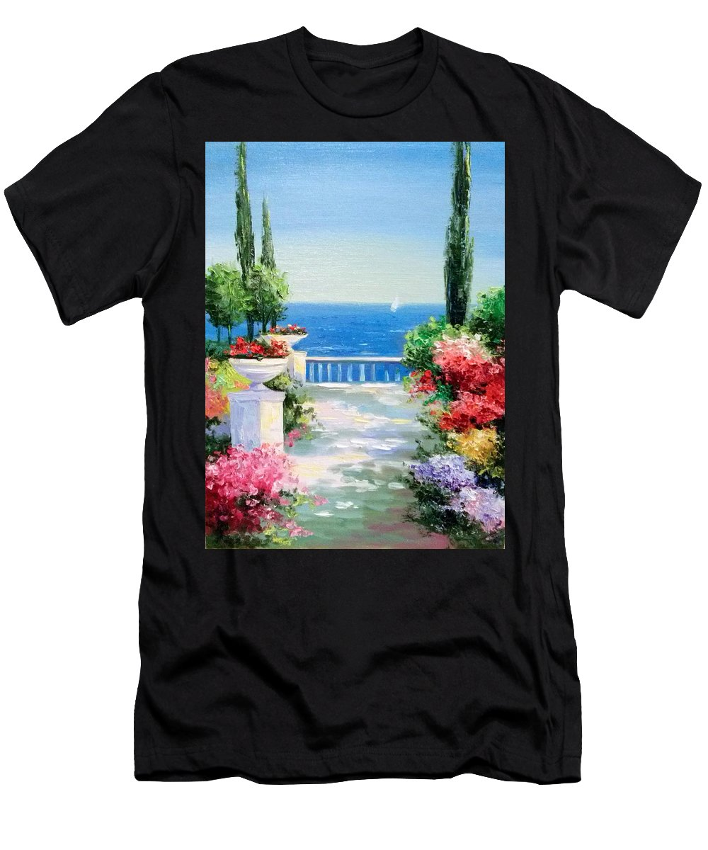 Solar Embankment Men's T-Shirt (Athletic Fit) featuring the painting Solar Embankment by Olha Darchuk