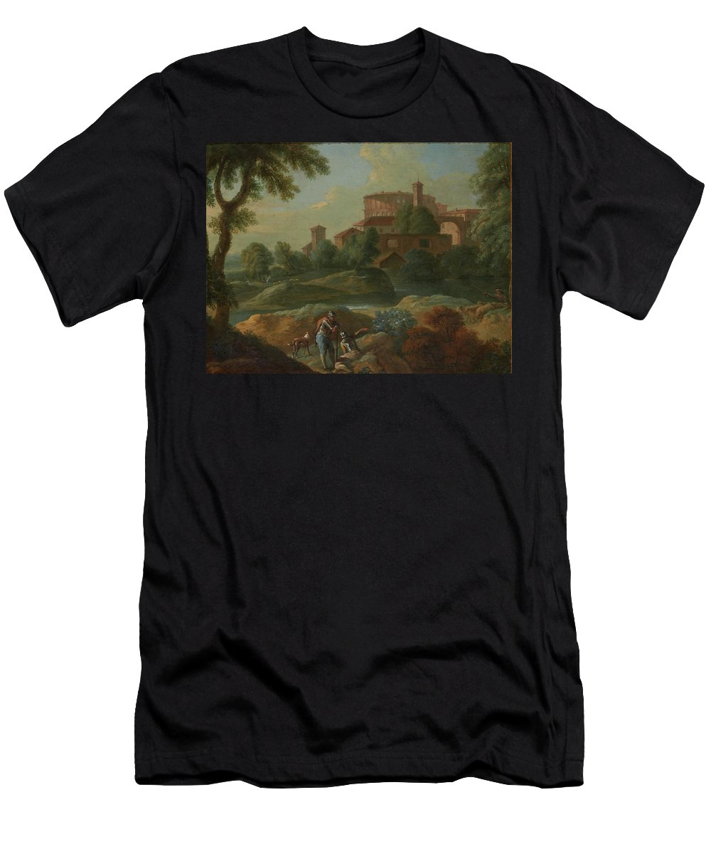 Marcantonio Sardi Landscape With Soldiers And Dogs Near A River Men's T-Shirt (Athletic Fit) featuring the painting Soldiers And Dogs Near A River by Marcantonio