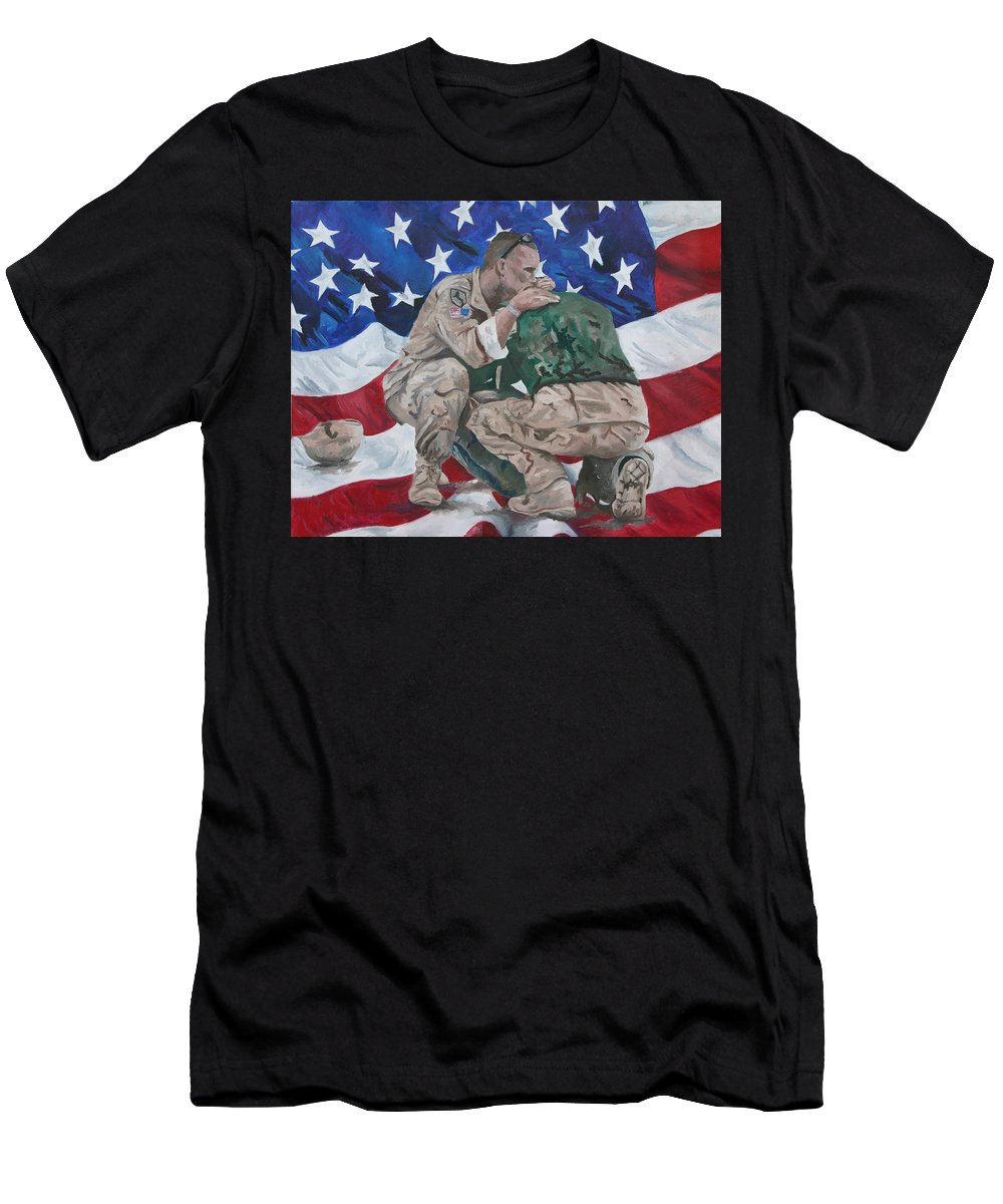 Soldiers Men's T-Shirt (Athletic Fit) featuring the painting Soldiers by Travis Day