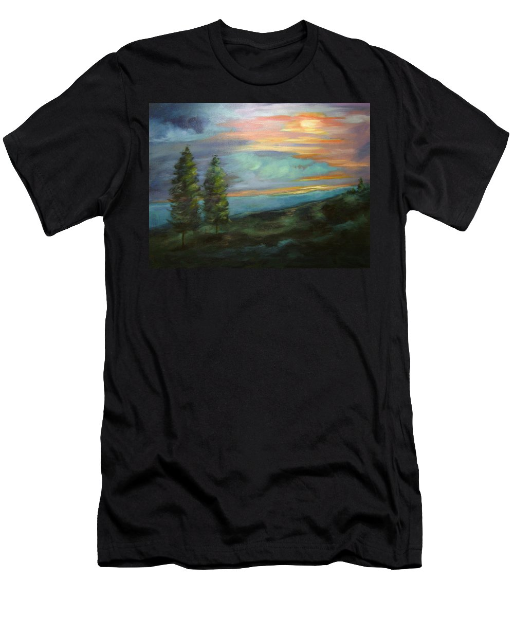 Landscape Men's T-Shirt (Athletic Fit) featuring the painting Soledad by Ginger Concepcion